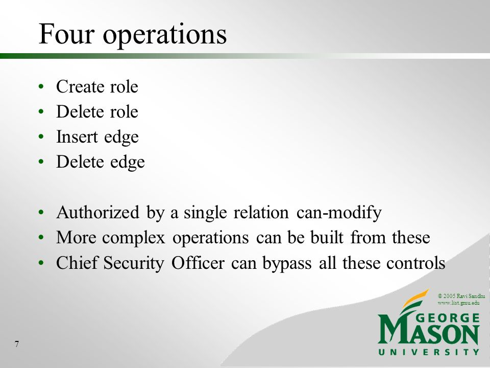 © 2005 Ravi Sandhu www.list.gmu.edu 7 Four operations Create role Delete role Insert edge Delete edge Authorized by a single relation can-modify More complex operations can be built from these Chief Security Officer can bypass all these controls
