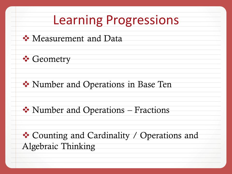 Learning Progressions Measurement and Data Geometry Number and Operations in Base Ten Number and Operations – Fractions Counting and Cardinality / Operations and Algebraic Thinking