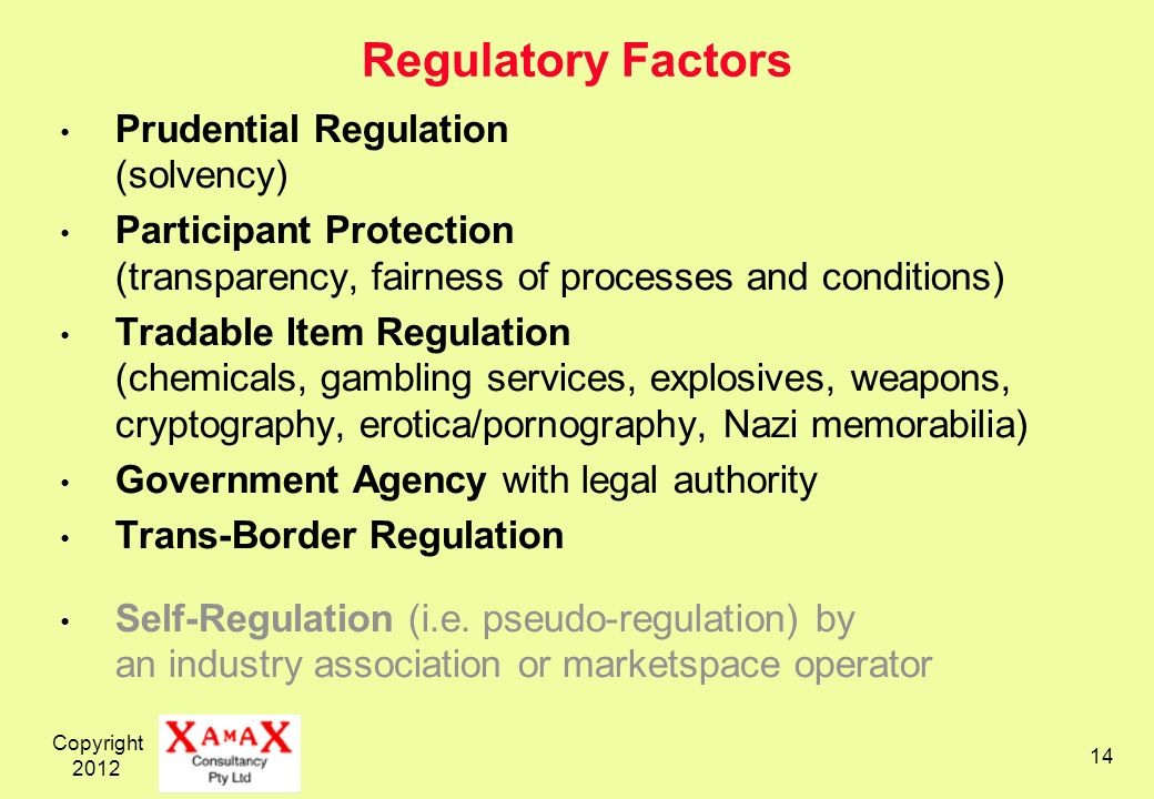 Copyright Regulatory Factors Prudential Regulation (solvency) Participant Protection (transparency, fairness of processes and conditions) Tradable Item Regulation (chemicals, gambling services, explosives, weapons, cryptography, erotica/pornography, Nazi memorabilia) Government Agency with legal authority Trans-Border Regulation Self-Regulation (i.e.