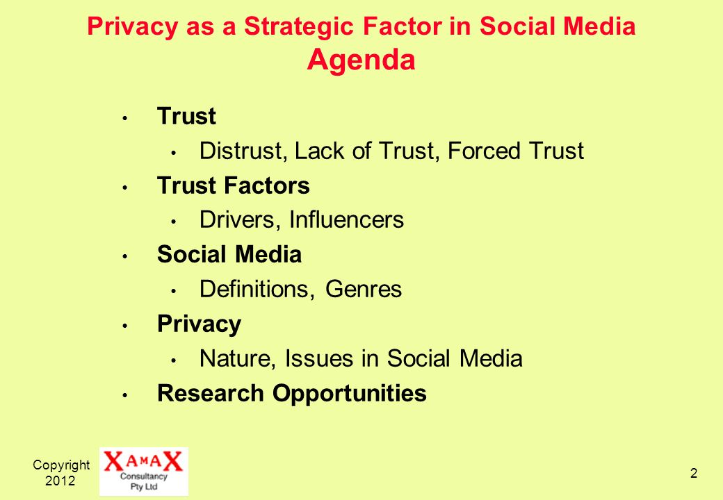 Copyright Privacy as a Strategic Factor in Social Media Agenda Trust Distrust, Lack of Trust, Forced Trust Trust Factors Drivers, Influencers Social Media Definitions, Genres Privacy Nature, Issues in Social Media Research Opportunities