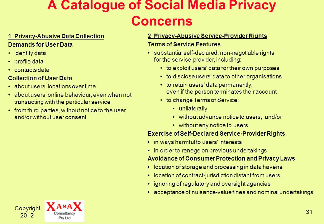 Copyright A Catalogue of Social Media Privacy Concerns 1Privacy-Abusive Data Collection Demands for User Data identity data profile data contacts data Collection of User Data about users locations over time about users online behaviour, even when not transacting with the particular service from third parties, without notice to the user and/or without user consent 2Privacy-Abusive Service-Provider Rights Terms of Service Features substantial self-declared, non-negotiable rights for the service-provider, including: to exploit users data for their own purposes to disclose users data to other organisations to retain users data permanently, even if the person terminates their account to change Terms of Service: unilaterally without advance notice to users; and/or without any notice to users Exercise of Self-Declared Service-Provider Rights in ways harmful to users interests in order to renege on previous undertakings Avoidance of Consumer Protection and Privacy Laws location of storage and processing in data havens location of contract-jurisdiction distant from users ignoring of regulatory and oversight agencies acceptance of nuisance-value fines and nominal undertakings