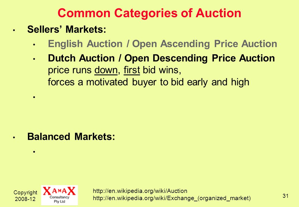 Copyright 2008-12 31 Common Categories of Auction Sellers Markets: English Auction / Open Ascending Price Auction Dutch Auction / Open Descending Price Auction price runs down, first bid wins, forces a motivated buyer to bid early and high Balanced Markets: http://en.wikipedia.org/wiki/Auction http://en.wikipedia.org/wiki/Exchange_(organized_market)
