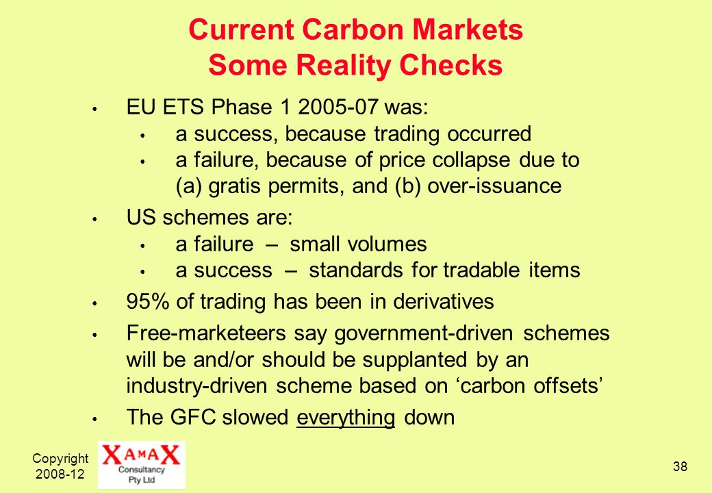 Copyright 2008-12 38 Current Carbon Markets Some Reality Checks EU ETS Phase 1 2005-07 was: a success, because trading occurred a failure, because of price collapse due to (a) gratis permits, and (b) over-issuance US schemes are: a failure – small volumes a success – standards for tradable items 95% of trading has been in derivatives Free-marketeers say government-driven schemes will be and/or should be supplanted by an industry-driven scheme based on carbon offsets The GFC slowed everything down