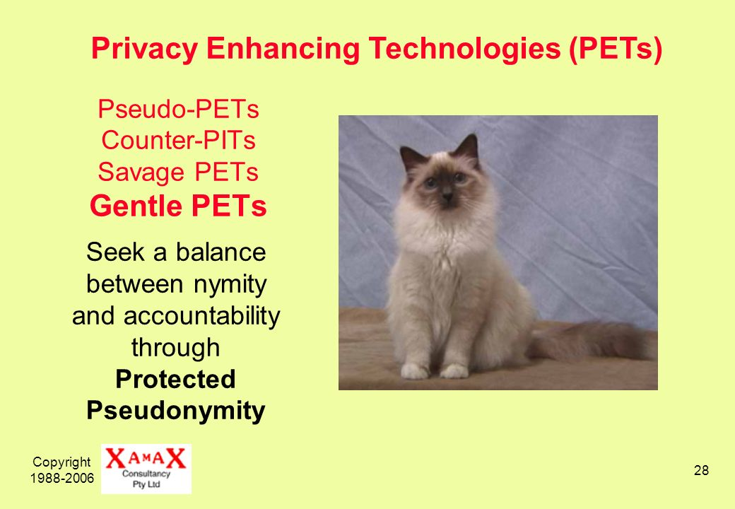 Copyright Pseudo-PETs Counter-PITs Savage PETs Gentle PETs Seek a balance between nymity and accountability through Protected Pseudonymity Privacy Enhancing Technologies (PETs)