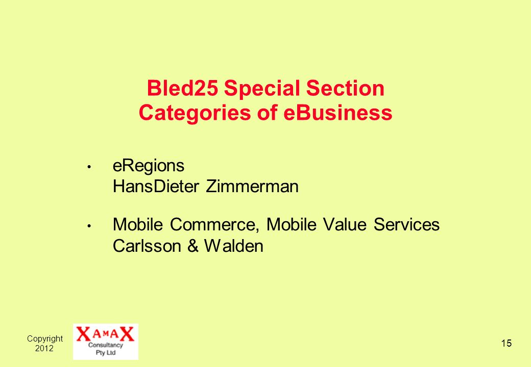 Copyright Bled25 Special Section Categories of eBusiness eRegions HansDieter Zimmerman Mobile Commerce, Mobile Value Services Carlsson & Walden
