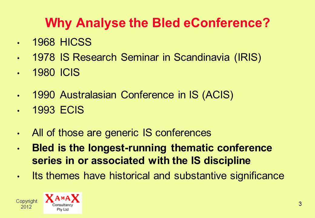 Copyright Why Analyse the Bled eConference.