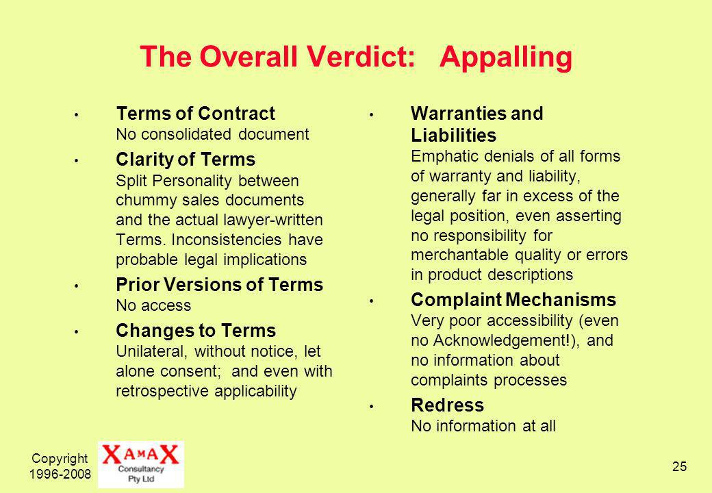 Copyright The Overall Verdict: Appalling Terms of Contract No consolidated document Clarity of Terms Split Personality between chummy sales documents and the actual lawyer-written Terms.