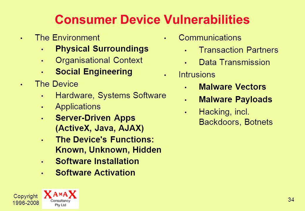 Copyright Consumer Device Vulnerabilities The Environment Physical Surroundings Organisational Context Social Engineering The Device Hardware, Systems Software Applications Server-Driven Apps (ActiveX, Java, AJAX) The Device s Functions: Known, Unknown, Hidden Software Installation Software Activation Communications Transaction Partners Data Transmission Intrusions Malware Vectors Malware Payloads Hacking, incl.