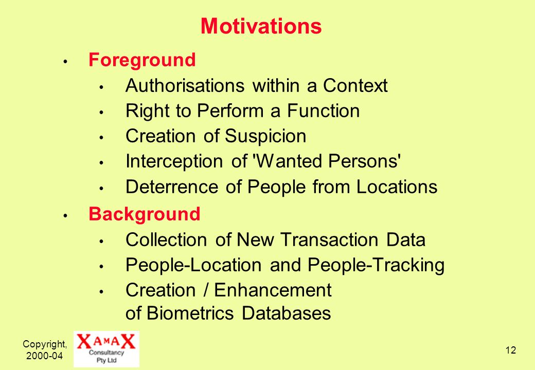 Copyright, 2000-04 12 Motivations Foreground Authorisations within a Context Right to Perform a Function Creation of Suspicion Interception of Wanted Persons Deterrence of People from Locations Background Collection of New Transaction Data People-Location and People-Tracking Creation / Enhancement of Biometrics Databases