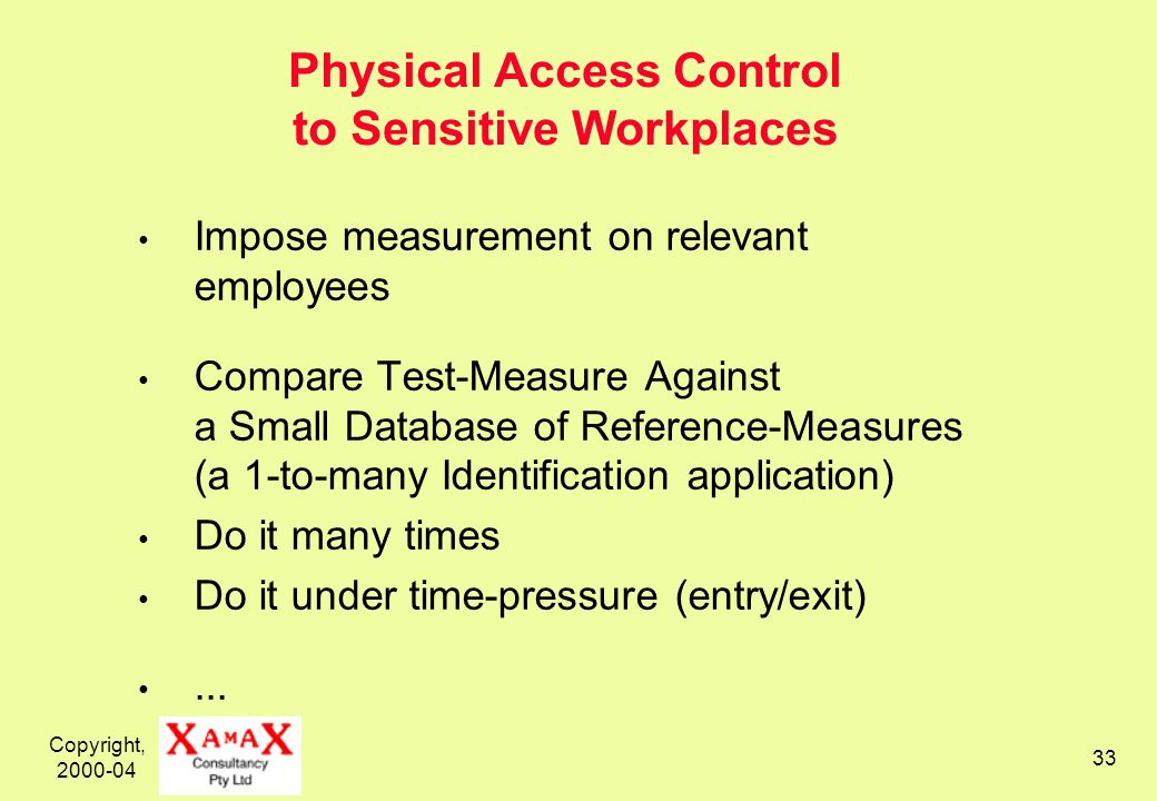 Copyright, 2000-04 33 Physical Access Control to Sensitive Workplaces Impose measurement on relevant employees Compare Test-Measure Against a Small Database of Reference-Measures (a 1-to-many Identification application) Do it many times Do it under time-pressure (entry/exit)...
