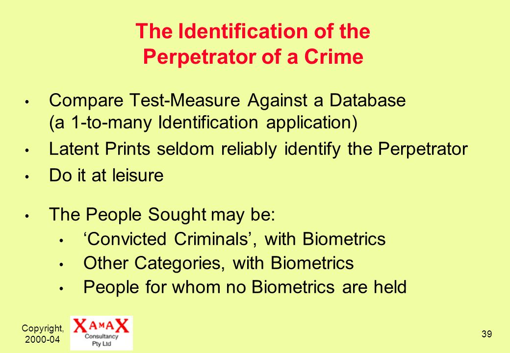 Copyright, 2000-04 39 The Identification of the Perpetrator of a Crime Compare Test-Measure Against a Database (a 1-to-many Identification application) Latent Prints seldom reliably identify the Perpetrator Do it at leisure The People Sought may be: Convicted Criminals, with Biometrics Other Categories, with Biometrics People for whom no Biometrics are held