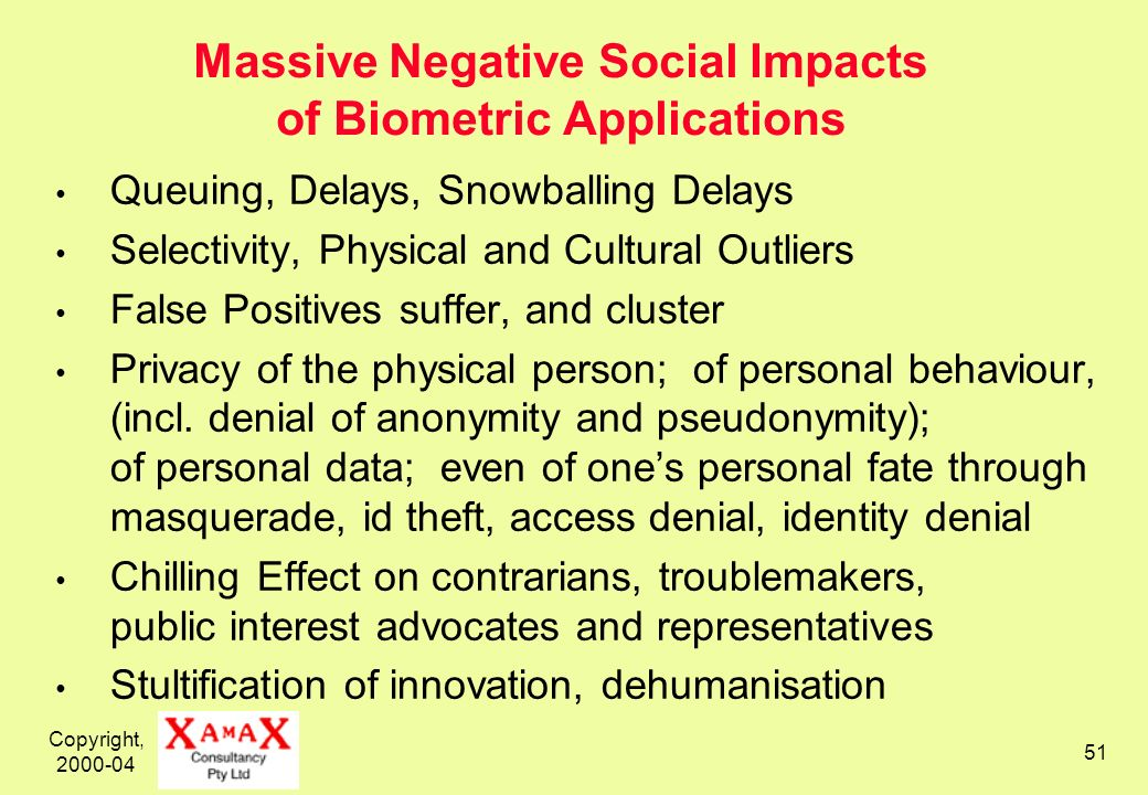 Copyright, 2000-04 51 Massive Negative Social Impacts of Biometric Applications Queuing, Delays, Snowballing Delays Selectivity, Physical and Cultural Outliers False Positives suffer, and cluster Privacy of the physical person; of personal behaviour, (incl.