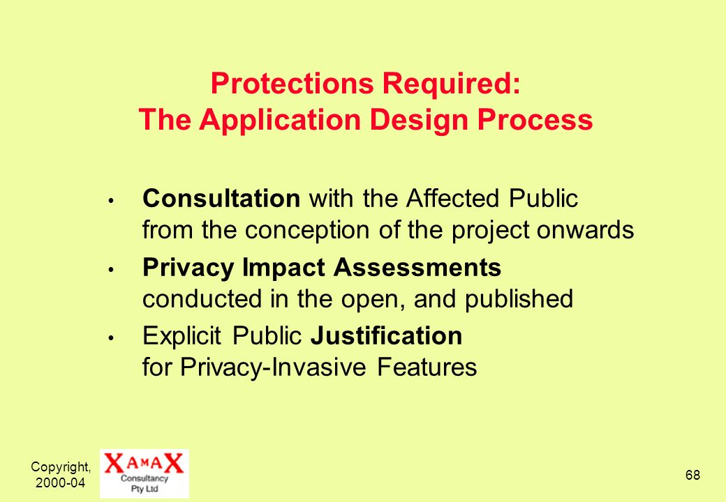Copyright, 2000-04 68 Protections Required: The Application Design Process Consultation with the Affected Public from the conception of the project onwards Privacy Impact Assessments conducted in the open, and published Explicit Public Justification for Privacy-Invasive Features