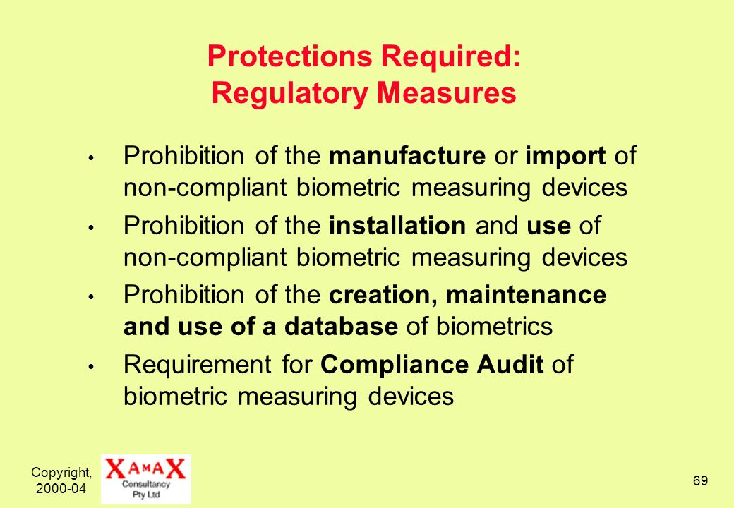 Copyright, 2000-04 69 Protections Required: Regulatory Measures Prohibition of the manufacture or import of non-compliant biometric measuring devices Prohibition of the installation and use of non-compliant biometric measuring devices Prohibition of the creation, maintenance and use of a database of biometrics Requirement for Compliance Audit of biometric measuring devices