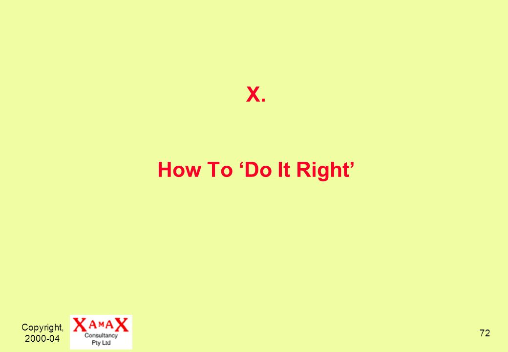 Copyright, 2000-04 72 X. How To Do It Right