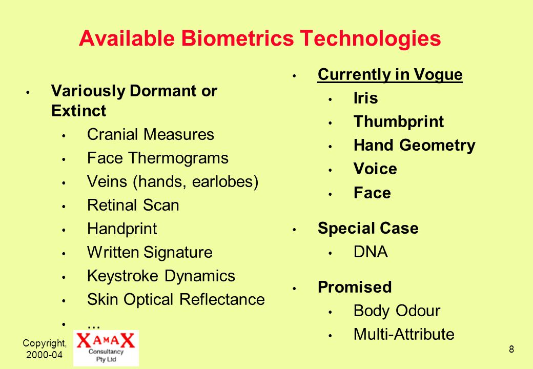 Copyright, 2000-04 8 Available Biometrics Technologies Variously Dormant or Extinct Cranial Measures Face Thermograms Veins (hands, earlobes) Retinal Scan Handprint Written Signature Keystroke Dynamics Skin Optical Reflectance...