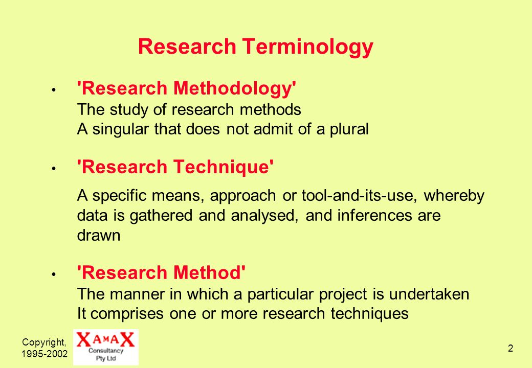 Copyright, Research Terminology Research Methodology The study of research methods A singular that does not admit of a plural Research Technique A specific means, approach or tool-and-its-use, whereby data is gathered and analysed, and inferences are drawn Research Method The manner in which a particular project is undertaken It comprises one or more research techniques