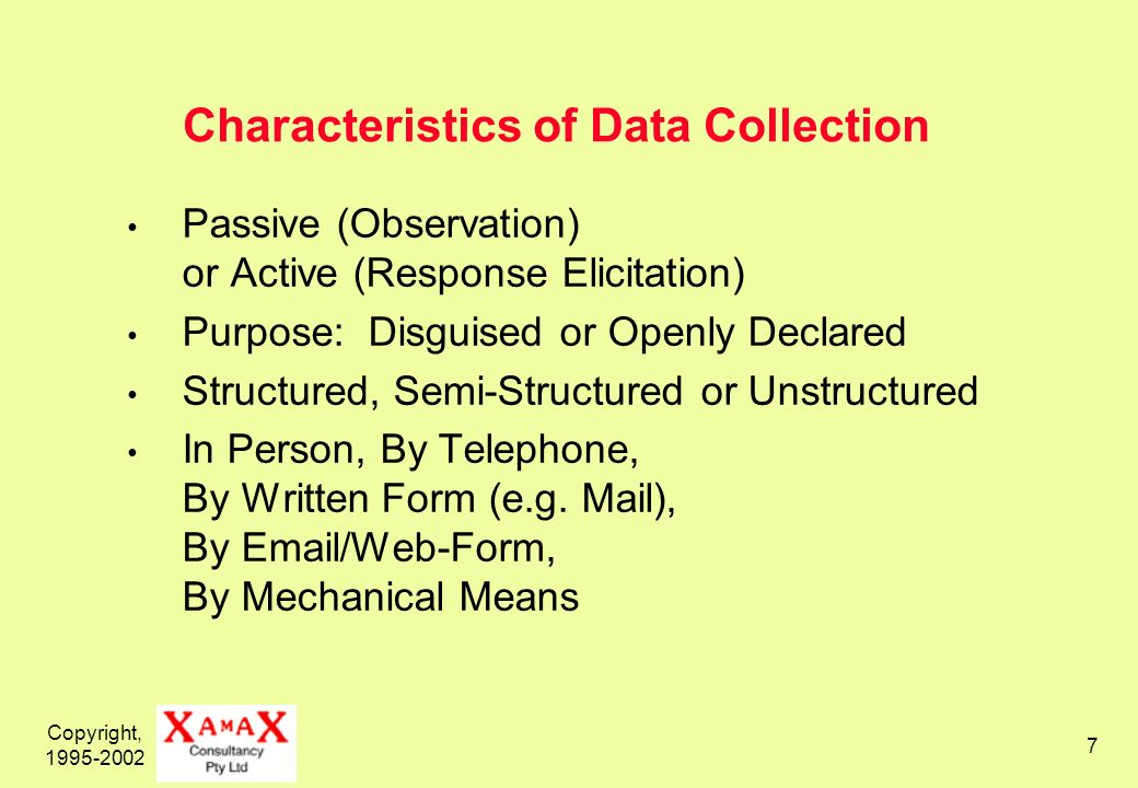 Copyright, Characteristics of Data Collection Passive (Observation) or Active (Response Elicitation) Purpose: Disguised or Openly Declared Structured, Semi-Structured or Unstructured In Person, By Telephone, By Written Form (e.g.