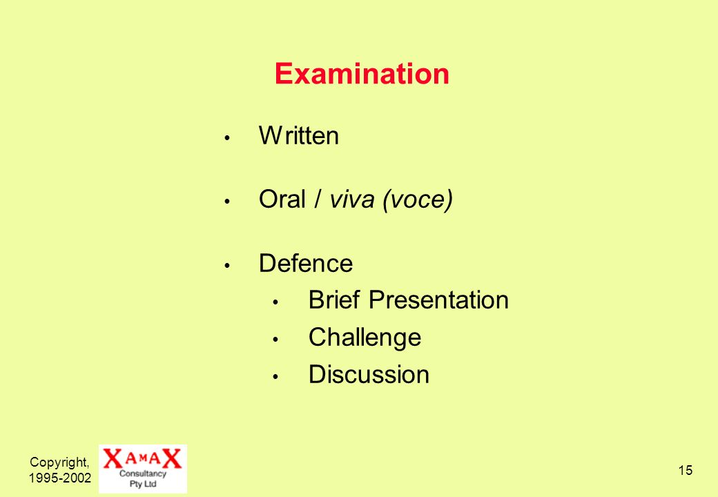 Copyright, Examination Written Oral / viva (voce) Defence Brief Presentation Challenge Discussion