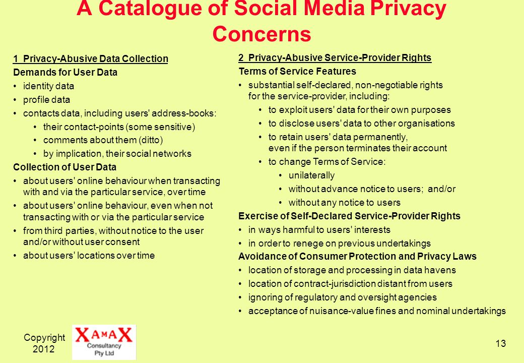 Copyright A Catalogue of Social Media Privacy Concerns 1Privacy-Abusive Data Collection Demands for User Data identity data profile data contacts data, including users address-books: their contact-points (some sensitive) comments about them (ditto) by implication, their social networks Collection of User Data about users online behaviour when transacting with and via the particular service, over time about users online behaviour, even when not transacting with or via the particular service from third parties, without notice to the user and/or without user consent about users locations over time 2Privacy-Abusive Service-Provider Rights Terms of Service Features substantial self-declared, non-negotiable rights for the service-provider, including: to exploit users data for their own purposes to disclose users data to other organisations to retain users data permanently, even if the person terminates their account to change Terms of Service: unilaterally without advance notice to users; and/or without any notice to users Exercise of Self-Declared Service-Provider Rights in ways harmful to users interests in order to renege on previous undertakings Avoidance of Consumer Protection and Privacy Laws location of storage and processing in data havens location of contract-jurisdiction distant from users ignoring of regulatory and oversight agencies acceptance of nuisance-value fines and nominal undertakings