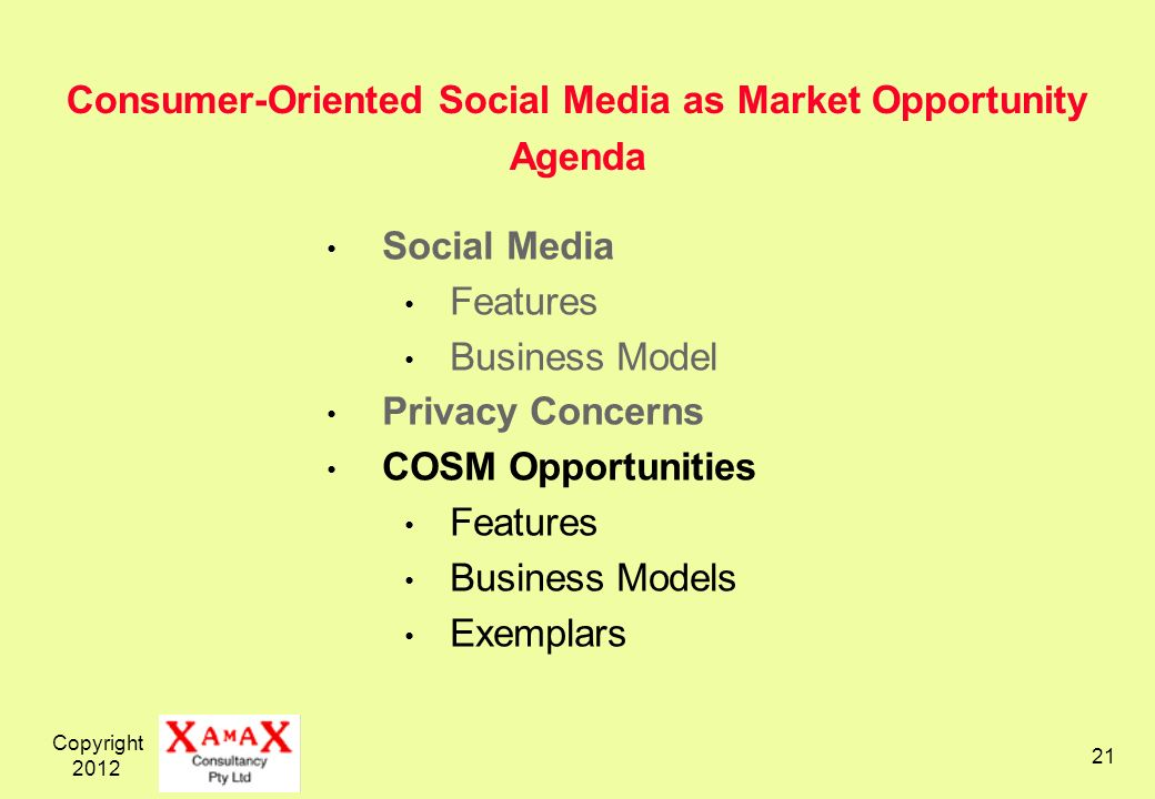 Copyright Consumer-Oriented Social Media as Market Opportunity Agenda Social Media Features Business Model Privacy Concerns COSM Opportunities Features Business Models Exemplars