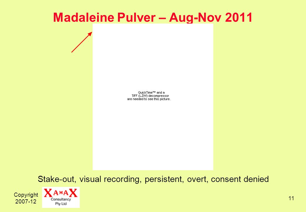 Copyright Madaleine Pulver – Aug-Nov 2011 Stake-out, visual recording, persistent, overt, consent denied