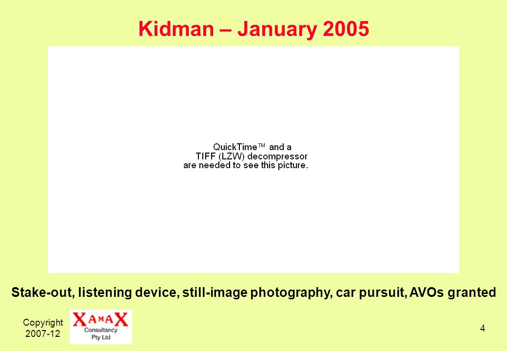 Copyright Kidman – January 2005 Stake-out, listening device, still-image photography, car pursuit, AVOs granted