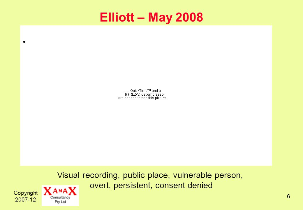 Copyright Elliott – May 2008 Visual recording, public place, vulnerable person, overt, persistent, consent denied
