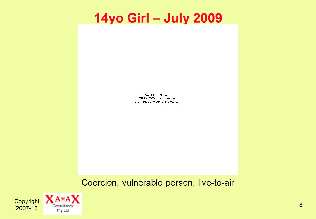 Copyright yo Girl – July 2009 Coercion, vulnerable person, live-to-air