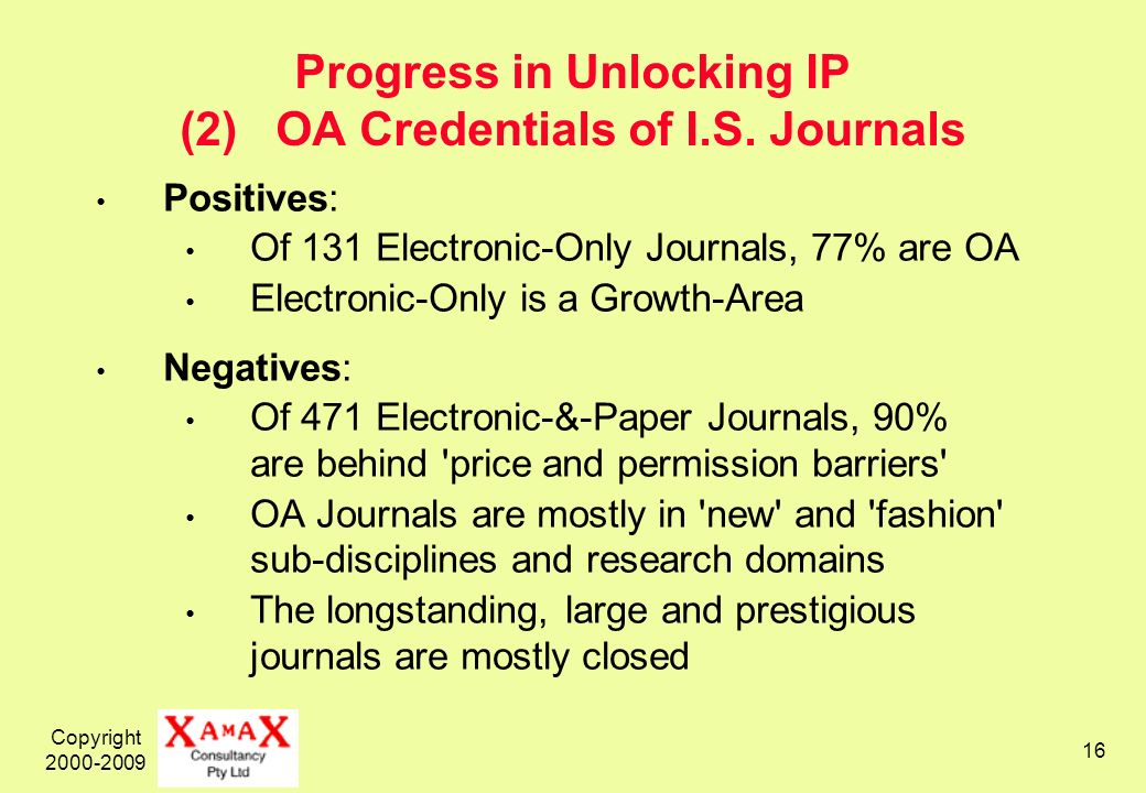 Copyright 2000-2009 16 Progress in Unlocking IP (2) OA Credentials of I.S.