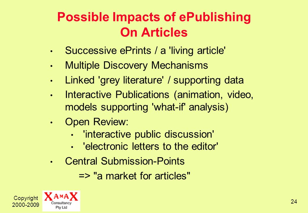 Copyright 2000-2009 24 Possible Impacts of ePublishing On Articles Successive ePrints / a living article Multiple Discovery Mechanisms Linked grey literature / supporting data Interactive Publications (animation, video, models supporting what-if analysis) Open Review: interactive public discussion electronic letters to the editor Central Submission-Points => a market for articles