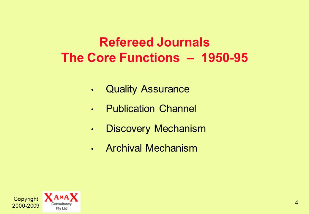 Copyright 2000-2009 4 Refereed Journals The Core Functions – 1950-95 Quality Assurance Publication Channel Discovery Mechanism Archival Mechanism