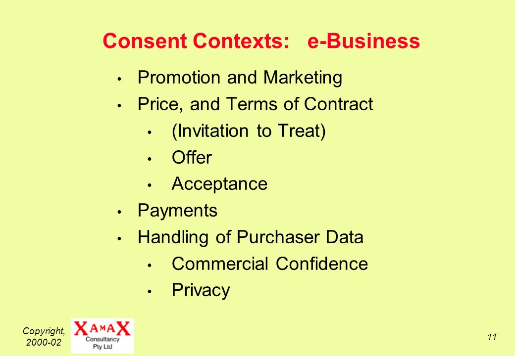 Copyright, Consent Contexts: e-Business Promotion and Marketing Price, and Terms of Contract (Invitation to Treat) Offer Acceptance Payments Handling of Purchaser Data Commercial Confidence Privacy