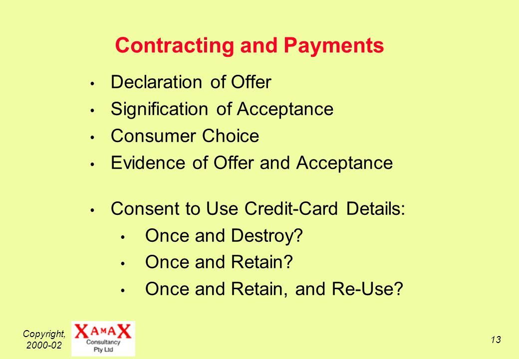 Copyright, Contracting and Payments Declaration of Offer Signification of Acceptance Consumer Choice Evidence of Offer and Acceptance Consent to Use Credit-Card Details: Once and Destroy.