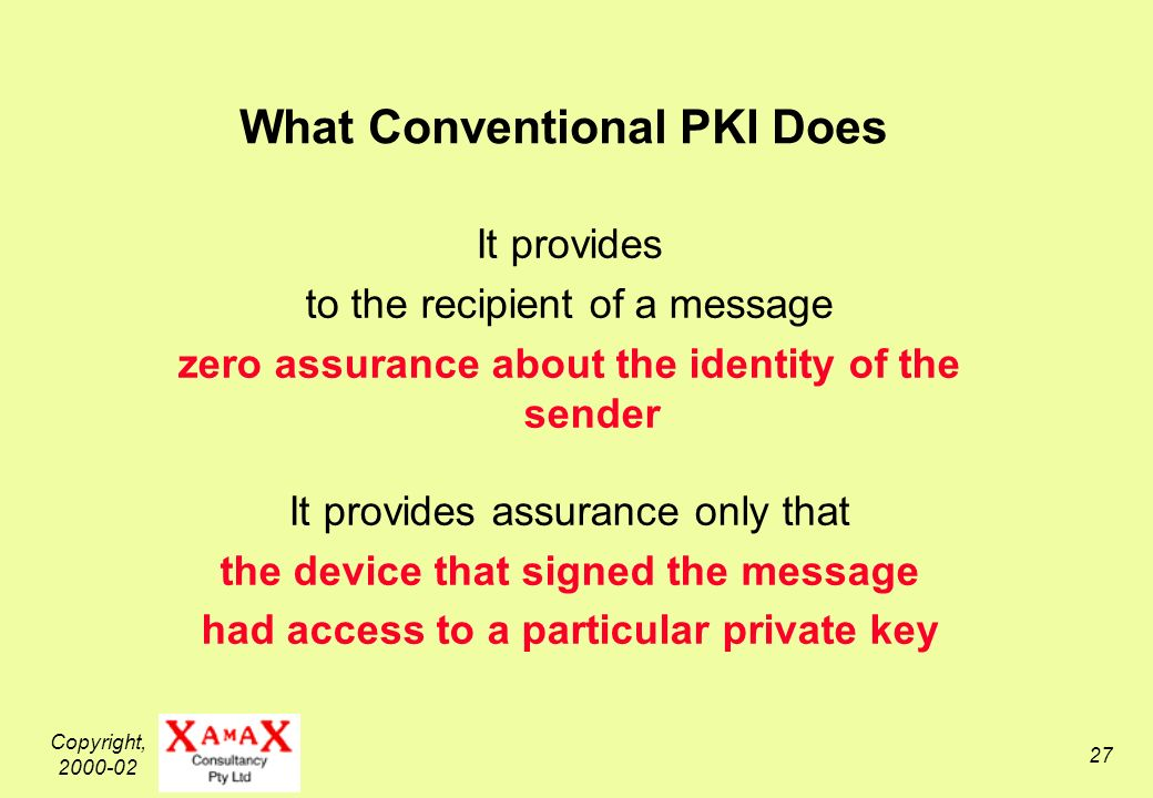 Copyright, What Conventional PKI Does It provides to the recipient of a message zero assurance about the identity of the sender It provides assurance only that the device that signed the message had access to a particular private key