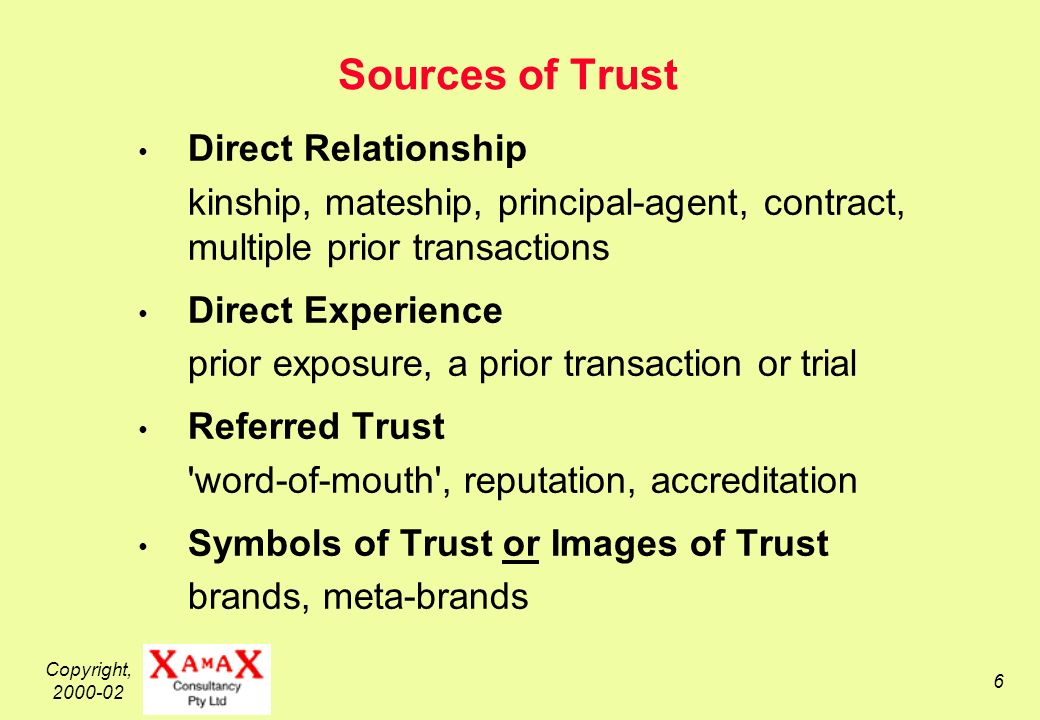 Copyright, Sources of Trust Direct Relationship kinship, mateship, principal-agent, contract, multiple prior transactions Direct Experience prior exposure, a prior transaction or trial Referred Trust word-of-mouth , reputation, accreditation Symbols of Trust or Images of Trust brands, meta-brands