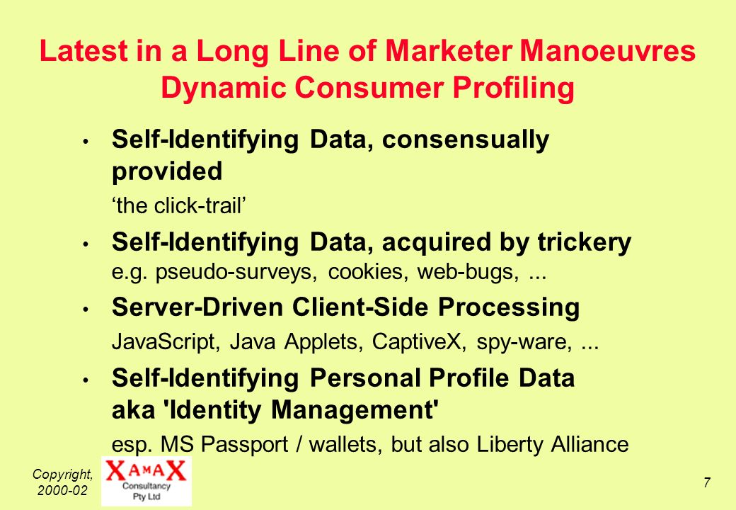 Copyright, Latest in a Long Line of Marketer Manoeuvres Dynamic Consumer Profiling Self-Identifying Data, consensually provided the click-trail Self-Identifying Data, acquired by trickery e.g.