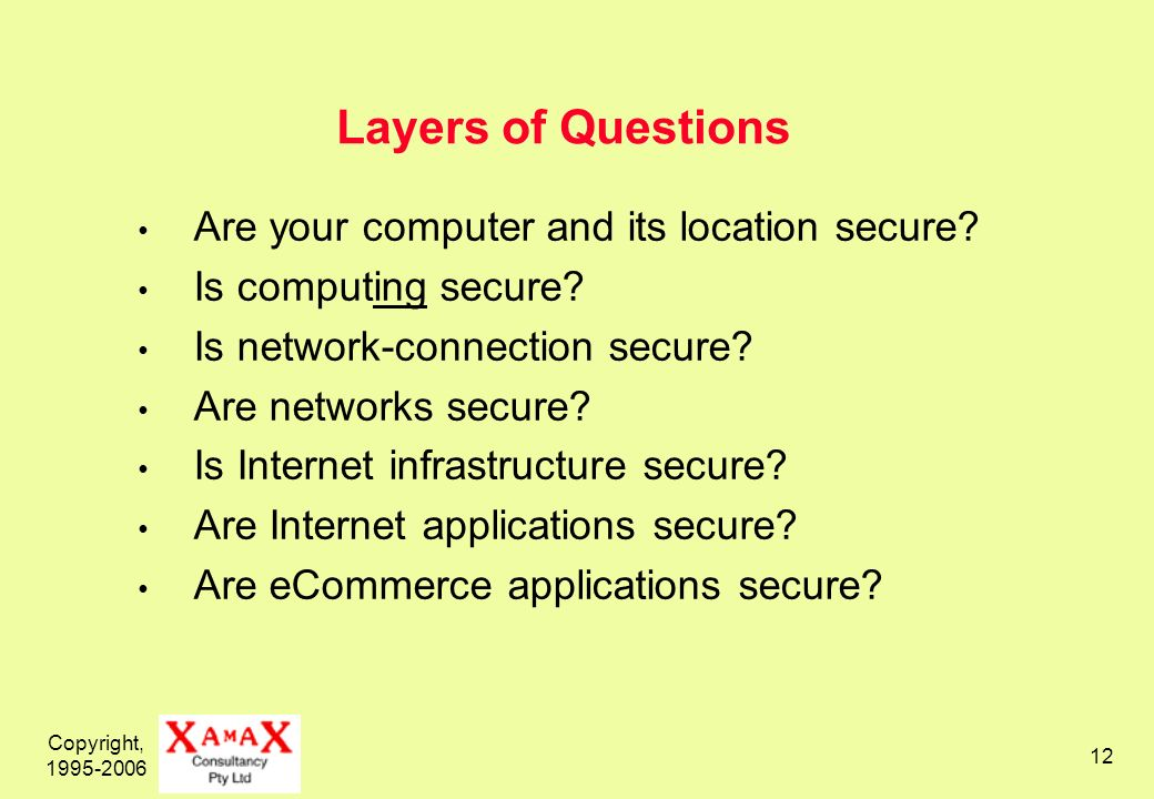 Copyright, 1995-2006 12 Layers of Questions Are your computer and its location secure.