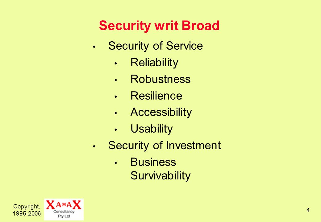 Copyright, 1995-2006 4 Security writ Broad Security of Service Reliability Robustness Resilience Accessibility Usability Security of Investment Business Survivability