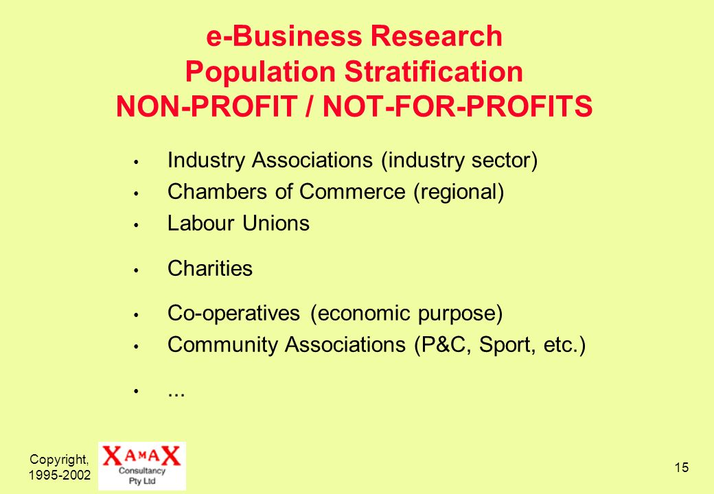 Copyright, e-Business Research Population Stratification NON-PROFIT / NOT-FOR-PROFITS Industry Associations (industry sector) Chambers of Commerce (regional) Labour Unions Charities Co-operatives (economic purpose) Community Associations (P&C, Sport, etc.)...