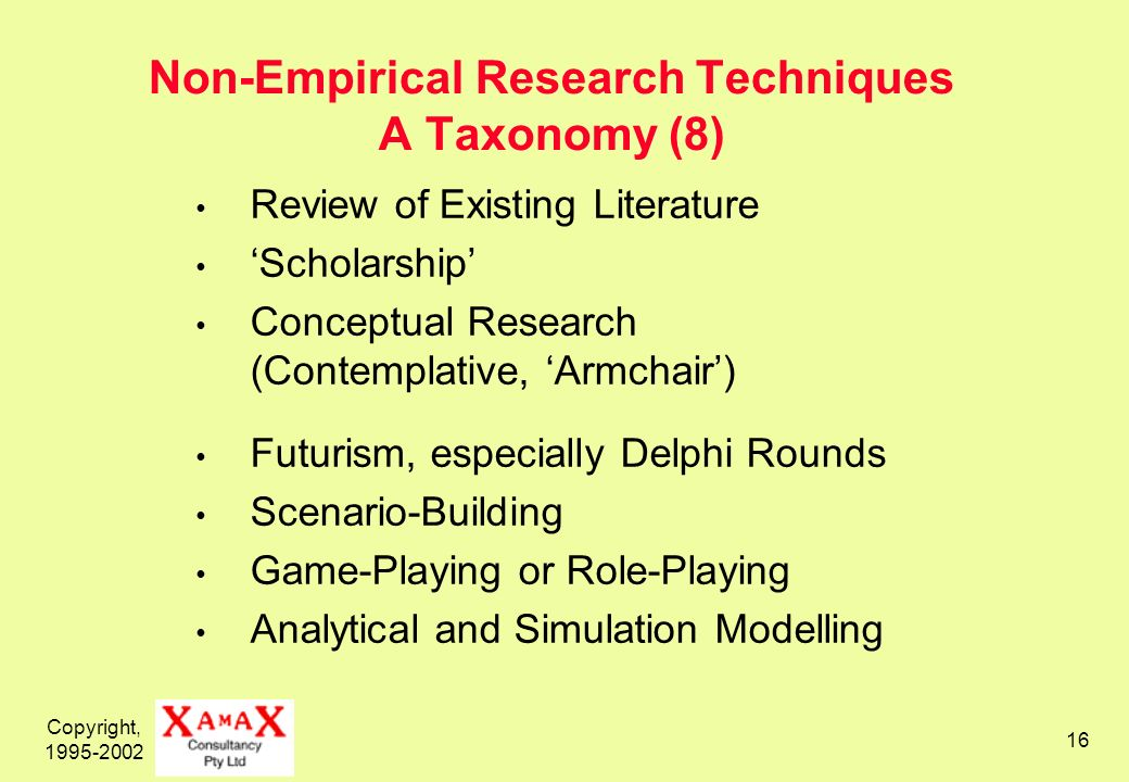 Copyright, Non-Empirical Research Techniques A Taxonomy (8) Review of Existing Literature Scholarship Conceptual Research (Contemplative, Armchair) Futurism, especially Delphi Rounds Scenario-Building Game-Playing or Role-Playing Analytical and Simulation Modelling
