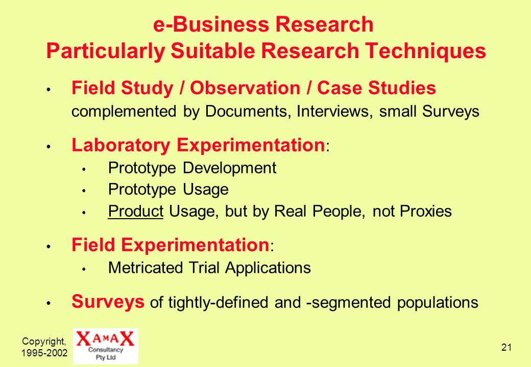 Copyright, e-Business Research Particularly Suitable Research Techniques Field Study / Observation / Case Studies complemented by Documents, Interviews, small Surveys Laboratory Experimentation : Prototype Development Prototype Usage Product Usage, but by Real People, not Proxies Field Experimentation : Metricated Trial Applications Surveys of tightly-defined and -segmented populations