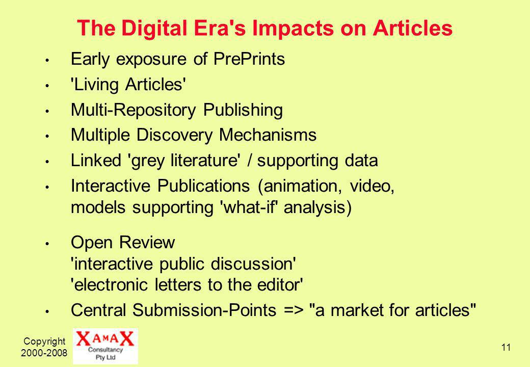 Copyright The Digital Era s Impacts on Articles Early exposure of PrePrints Living Articles Multi-Repository Publishing Multiple Discovery Mechanisms Linked grey literature / supporting data Interactive Publications (animation, video, models supporting what-if analysis) Open Review interactive public discussion electronic letters to the editor Central Submission-Points => a market for articles