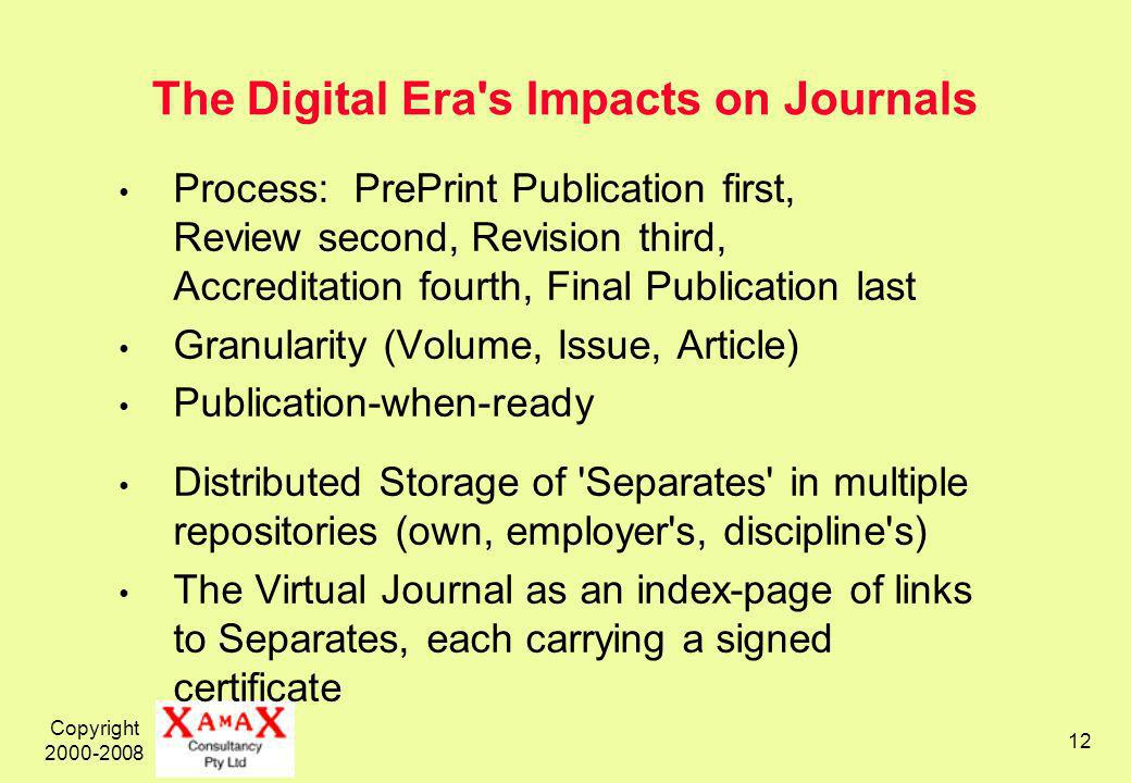 Copyright The Digital Era s Impacts on Journals Process: PrePrint Publication first, Review second, Revision third, Accreditation fourth, Final Publication last Granularity (Volume, Issue, Article) Publication-when-ready Distributed Storage of Separates in multiple repositories (own, employer s, discipline s) The Virtual Journal as an index-page of links to Separates, each carrying a signed certificate