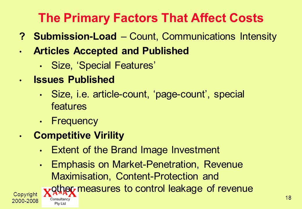 Copyright The Primary Factors That Affect Costs Submission-Load – Count, Communications Intensity Articles Accepted and Published Size, Special Features Issues Published Size, i.e.