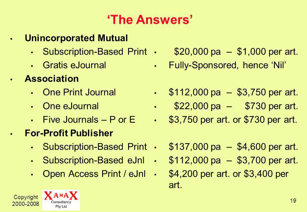 Copyright The Answers Unincorporated Mutual Subscription-Based Print Gratis eJournal Association One Print Journal One eJournal Five Journals – P or E For-Profit Publisher Subscription-Based Print Subscription-Based eJnl Open Access Print / eJnl $20,000 pa – $1,000 per art.