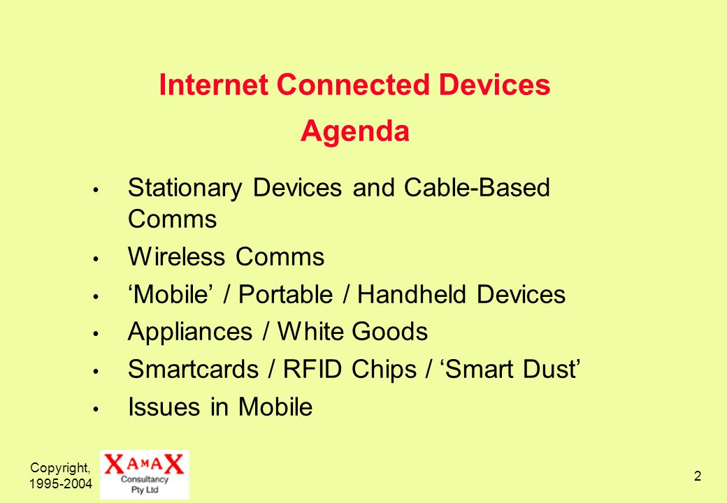 Copyright, 1995-2004 2 Internet Connected Devices Agenda Stationary Devices and Cable-Based Comms Wireless Comms Mobile / Portable / Handheld Devices Appliances / White Goods Smartcards / RFID Chips / Smart Dust Issues in Mobile
