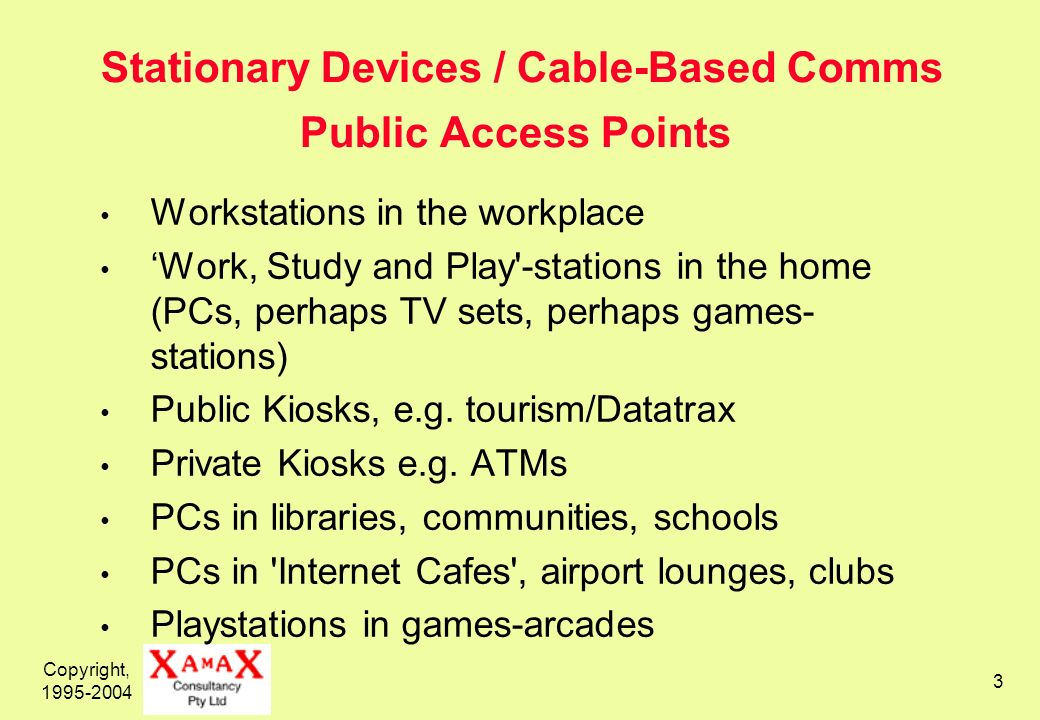 Copyright, 1995-2004 3 Stationary Devices / Cable-Based Comms Public Access Points Workstations in the workplace Work, Study and Play -stations in the home (PCs, perhaps TV sets, perhaps games- stations) Public Kiosks, e.g.