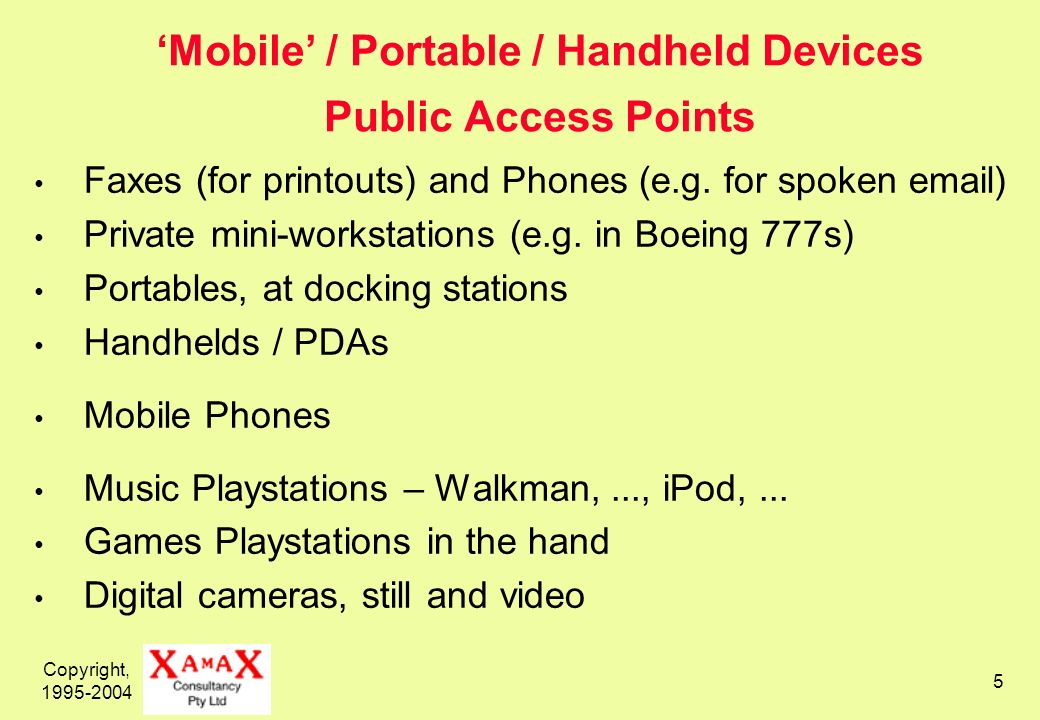 Copyright, 1995-2004 5 Mobile / Portable / Handheld Devices Public Access Points Faxes (for printouts) and Phones (e.g.