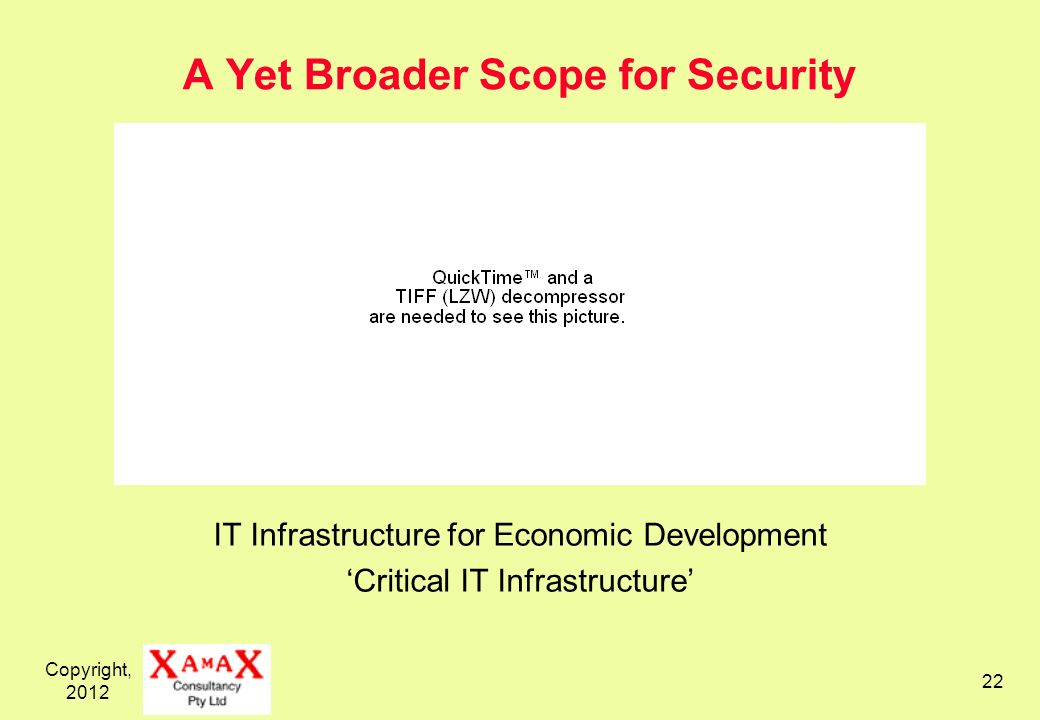 Copyright, A Yet Broader Scope for Security IT Infrastructure for Economic Development Critical IT Infrastructure